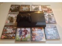 SONY PLAYSTATION SUPERSLIM PS3 CONSOLE BUNDLE 500GB 10 GAMES GTA 4 5 CALL OF DUTY BLACK OPS FIFA