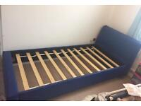 Single Bed, faux leather rare dark blue, excellent condition, FREE local delivery. Quick Sale!