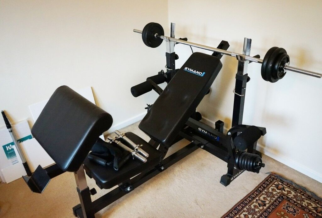Gymano Weight Bench, C/w Bar, Weights, Leg Extensions, Curling Pad, Pec  Deck.