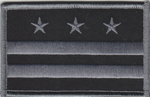 Washington DC Flag Patch SUBDUED BLACK/GREY gray District of Columbia
