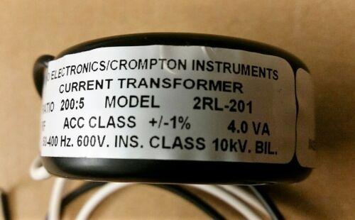 "Crompton/Tyco 2RL-201 - XFMR,CURRENT,200:5,4.0VA,1.05"", LEADS,RING"