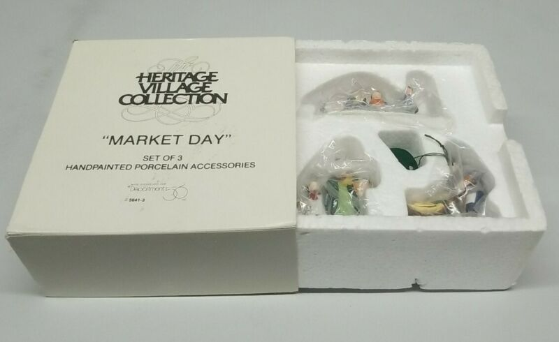 Dept 56 New England Village Market Day #56413 Christmas Holiday Dog Wagon