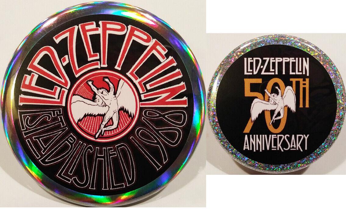 Led Zeppelin PIN SET 50th Anniversary HOLOGRAM BUTTONS Jimmy Page John Bonham
