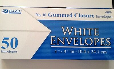 4 X 50 No.10 Gummed Closure Letter Mailing Long Envelopes Size4-18x 9-12