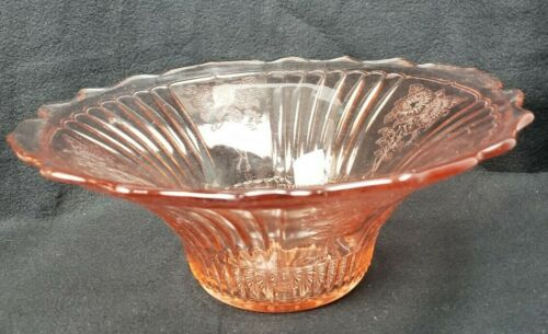 Vintage Large Pink Anchor Hocking Mayfair Open Rose Flared Hat/Console Bowl