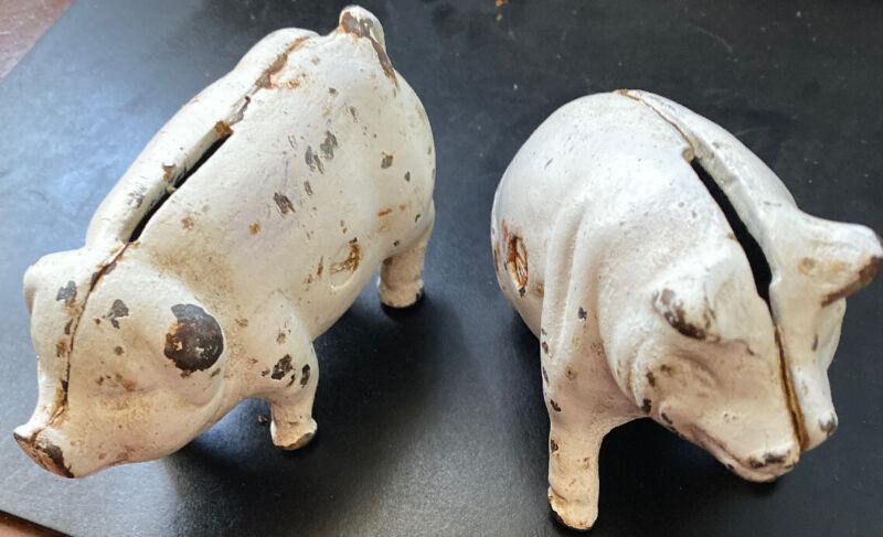 2 Vintage Cast Iron Pig Bank White