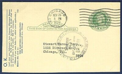 US Postal Reply Card UY7r Martha Washington 1 Green From Chicago IL 1940 - $4.00