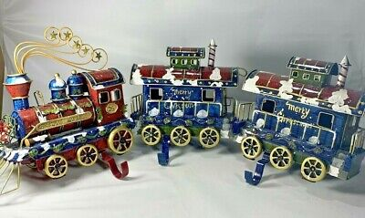 Christmas Express Holiday Stocking Holders Hangers Train Set of 3 Engine Cars