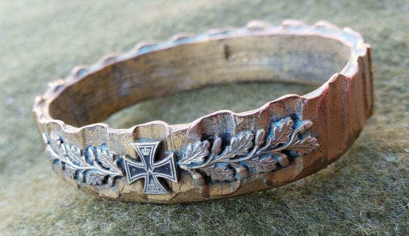 RARE, Fancy Antique German WWI Trench Art Artillery Bracelet, Folk, Iron Cross