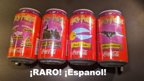 "VERY RARE SPANISH HARRY POTTER COKE COCA-COLA CANS (4) ""The Philosopher"