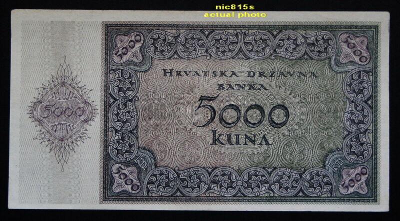 CROATIA, banknote 5000 kuna, 1943, 2nd World War, fascist state (ustasha)