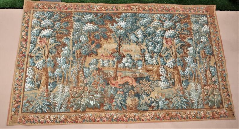 Vintage French Aubusson Tapestry Verdure des Flandres Allegorical Rambouillet