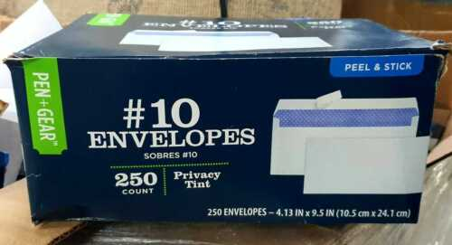 White Envelopes #10 Privacy Tint 500 Count 4.13 x 9.5 Peel and Stick NEW