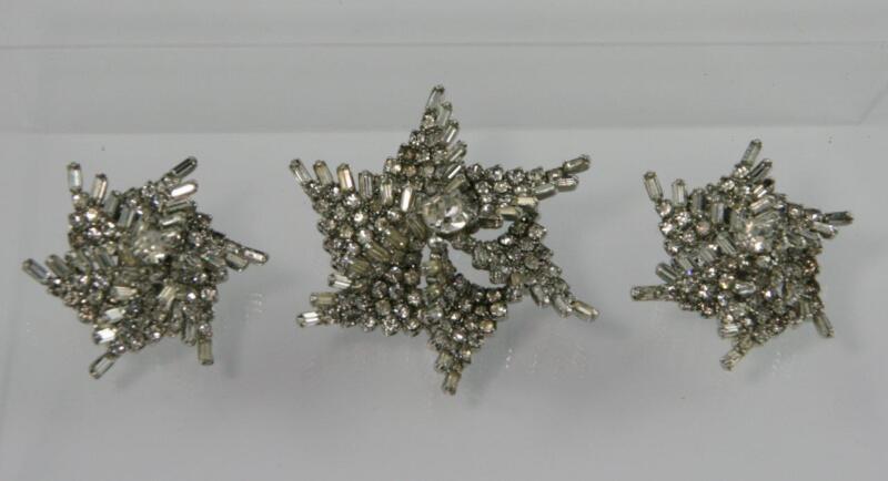 Vintage Rhinestone & Baguette Swirled Pinwheel Dimensional Brooch & Earring Set