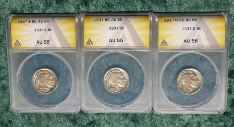 1937 AU PDS Buffalo Nickel Set, ANACS Certified Indian Head Nickels, 3 Coins