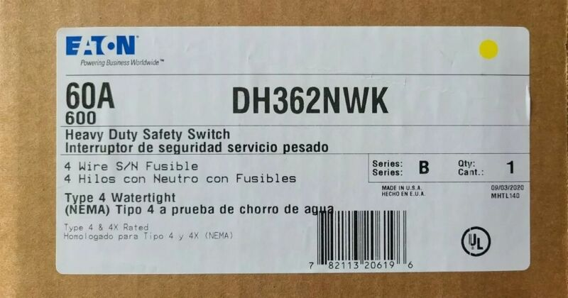 Eaton DH322NWK Fusible Safety Switch 60A 3P 600V NEMA 4X NEW