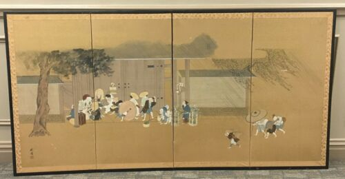 Vintage Japanese Four Panel Screen Painting  Signed - Gold Speck Ground  Figural