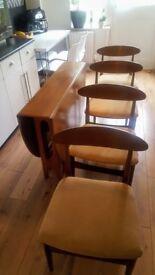 VINTAGE RETRO JENTIQUE TEAK TABLE AND 4 CHAIRS -Mid Century 60's 70's