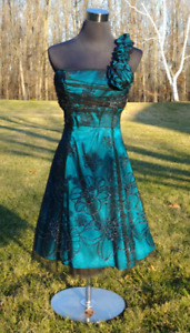Jolie Brand - Dark Teal with Silver Accents Formal Dress
