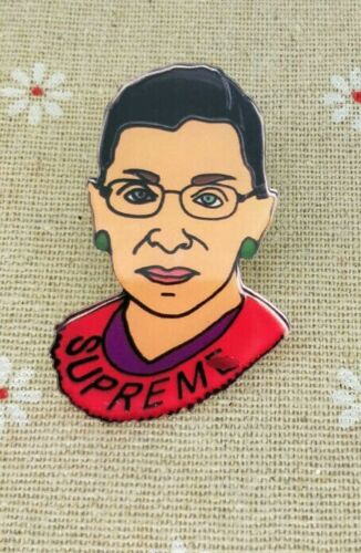 Big 2 Inch Acrylic Supreme Court Justice Ruth Bader Ginsburg Pin, Ships From USA
