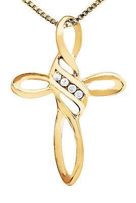 Ladies 10K Yellow Gold Loop Style Diamonds Cross Pendant Charm 1.25 inch 0.10ct