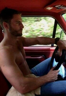 Shirtless Male Country Dude Beard Truck Driving Hunk in Jeans PHOTO 4X6 D487