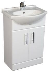 New Ceramic basin and double door vanity unit 650mm Soft close door