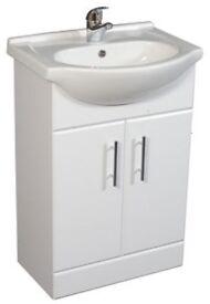 New Ceramic basin and double door vanity unit 650mm. Soft close door