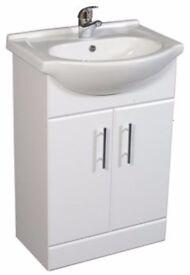 New Ceramic basin and double door vanity unit 650mm.