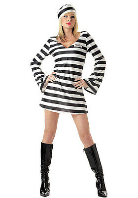 Convict Chick Prisoner Costume for Women size S & L New by Cal. Costume 00784
