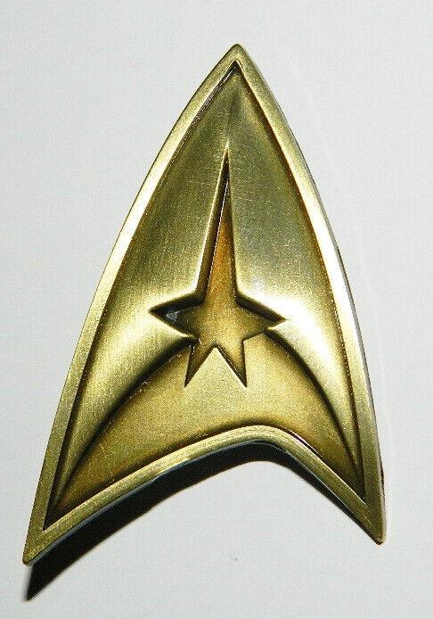 Star Trek Original TV Series Command Logo Brass Toned Badge Metal Pin NEW UNUSED