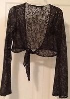 MARIPOSA size M black stretchy lace cropped top & other See all
