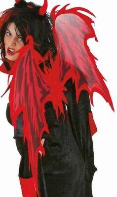 Damen Rot & Schwarz Flamme Teufel Flügel Halloween - Rote Teufel Flügel Kostüm
