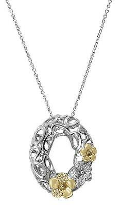 NEW 14k TWO-TONE GOLD DIAMOND FLOWER OVAL WREATH CHARM PENDANT NECKLACE