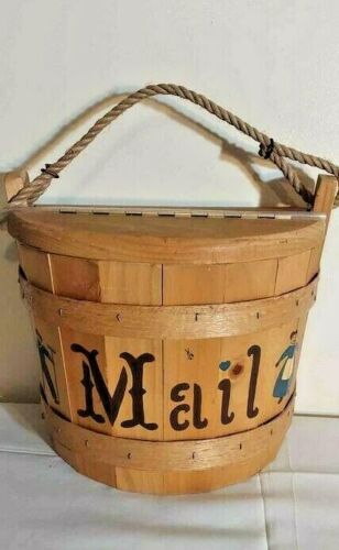 Mail Box Holder Wood Floral Paint The Maine Bucket Company Half Bucket Wall Hang