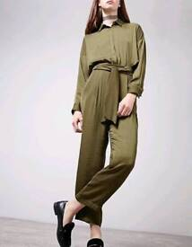stunning khaki green slit back jumpsuit from Stradivarius size small cost £29 new with tags