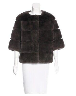 YVES SALOMON Tiered Grey Rex Rabbit Fur Size M US6, FR38 Est. Retail $2,400.00