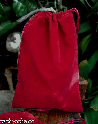 6 Red Velour Gift Bags 5x7 Drawstring pouches Christmas Holiday Money Sack