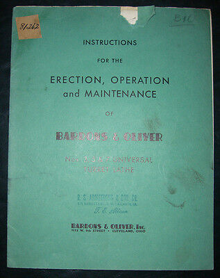 Bardons Oliver Model 3 5 7 Turret Lathe Operations And Maintenance Manual