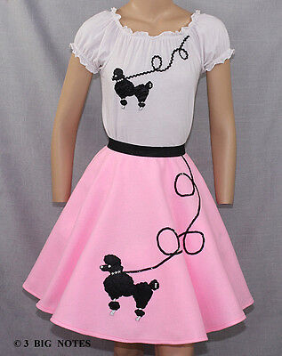 3 Piece Pink 50's Poodle Skirt outfit Girl Sizes 7,8,9,10 W 20
