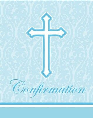 - Confirmation Religious Blue Cross Damask Invitations and Envelopes 16ct BE