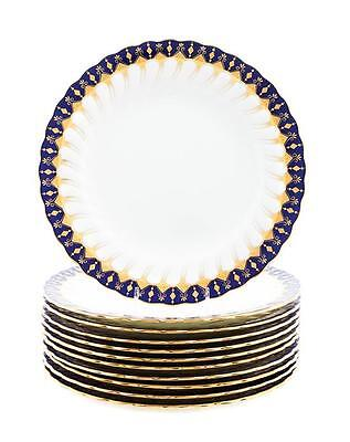 Antique MINTON for Tiffany & Co. Cobalt and Gold Dinner Plates ~ Set of 10