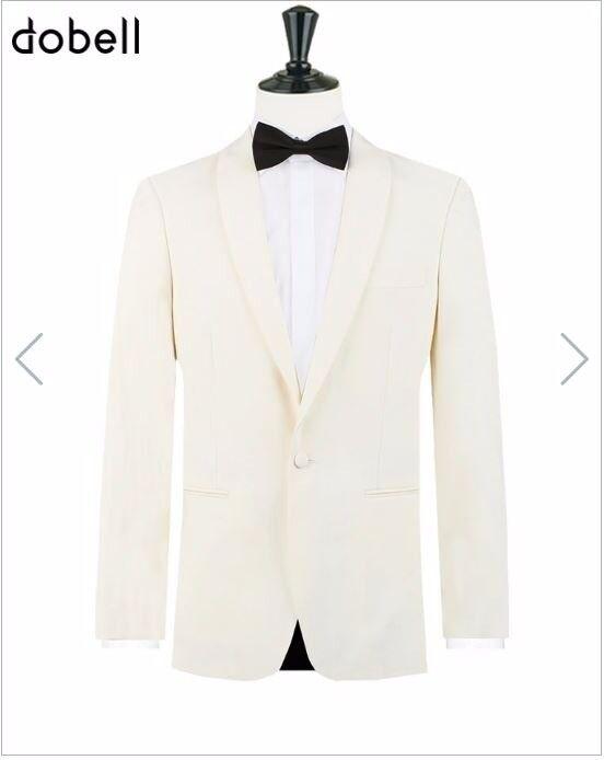 Mens White Tuxedo Wool Blend Single Button Fastening Dinner Jacket