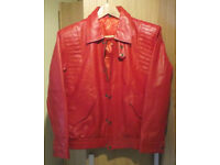 Red Leather Jacket Size 36 New
