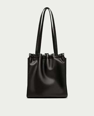 ZARA Women Ladies Mini Gathered Tote Bag, Black, NWT, UNIQUE - Gathered Tote Bag