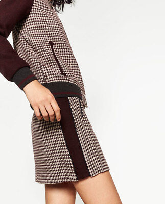 Zara Basic Collection Womens Houndstooth Check Mini Skirt Maroon Gray Size Small, used for sale  Shipping to Nigeria