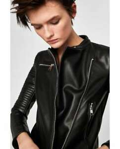 BRAND NEW WOMENS FAUX LEATHER BIKER STYLE JACKET BY ZARA - XL