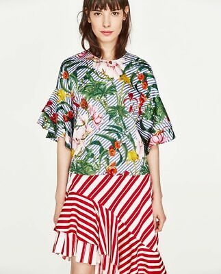 ZARA WOMAN FLORAL PRINT RUFFLED SLEEVES 100% COTTON TOP BLOUSE SIZE M