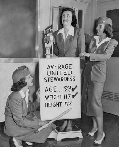 "United Airlines Stewardess c.1958 ((8.5""x11"")) Print"