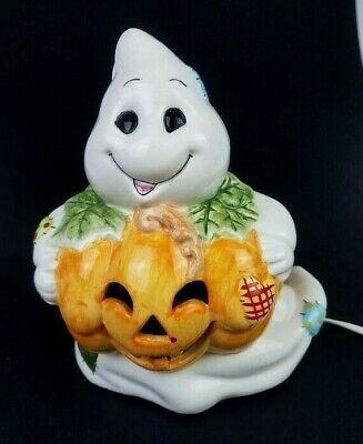 "Vintage Brinns Halloween Ghost with Pumpkin Ceramic Lamp - 7 1/2"" Tall Lights Up"